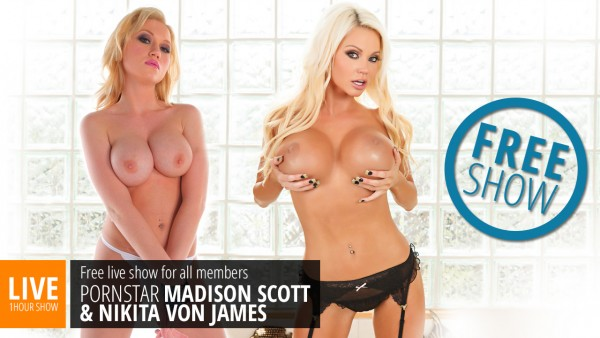 Webcams.com lesbian live show with Madison Scott & Nikita Von James
